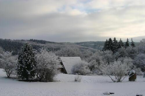 Nurdachhaus im Winter